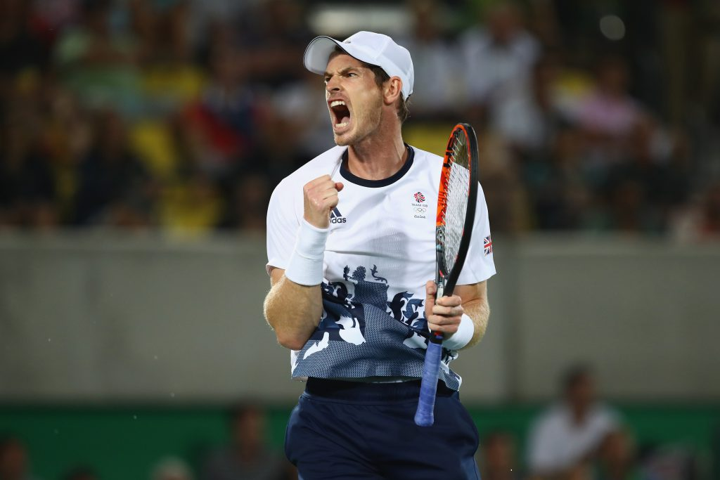 RIO DE JANEIRO, BRAZIL - AUGUST 14: Andy Murray of Great Britain celebrates winning match point during the men's singles gold medal match against Juan Martin Del Potro of Argentina on Day 9 of the Rio 2016 Olympic Games at the Olympic Tennis Centre on August 14, 2016 in Rio de Janeiro, Brazil. (Photo by Clive Brunskill/Getty Images)