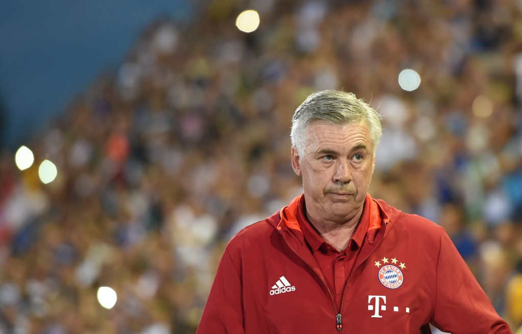 Bayern Munich's Italian headcoach Carlo Ancelotti arrives for the German Cup (DFB Pokal) first round football match between the German first division team Bayern Munich and the German regional soccer team Carl Zeiss Jena at the stadium in Jena, eastern Germany, on August 19, 2016. / AFP / CHRISTOF STACHE / RESTRICTIONS: ACCORDING TO DFB RULES IMAGE SEQUENCES TO SIMULATE VIDEO IS NOT ALLOWED DURING MATCH TIME. MOBILE (MMS) USE IS NOT ALLOWED DURING AND FOR FURTHER TWO HOURS AFTER THE MATCH. == RESTRICTED TO EDITORIAL USE == FOR MORE INFORMATION CONTACT DFB DIRECTLY AT +49 69 67880 / (Photo credit should read CHRISTOF STACHE/AFP/Getty Images)