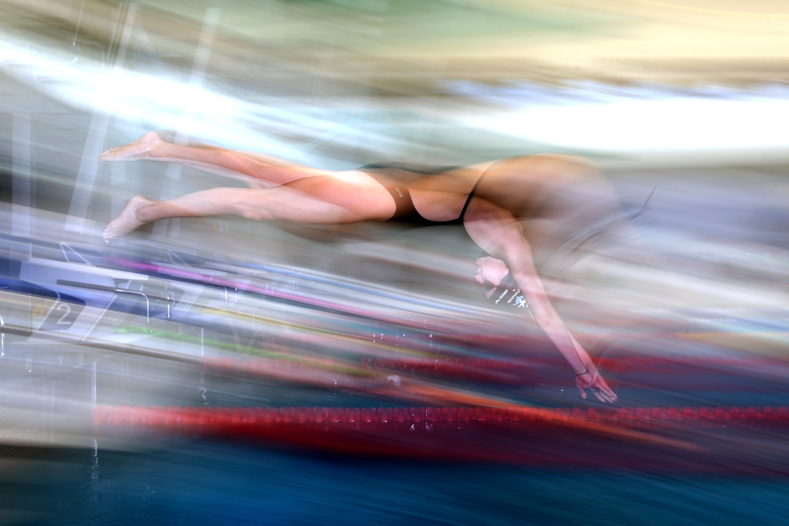 BERLIN, GERMANY - MARCH 09: Yusra Mardini of Syria during a training session at the Wasserfreunde Spandau 04 training pool Olympiapark Berlin on March 9, 2016 in Berlin, Germany. (Photo by Alexander Hassenstein/Getty Images for IOC)