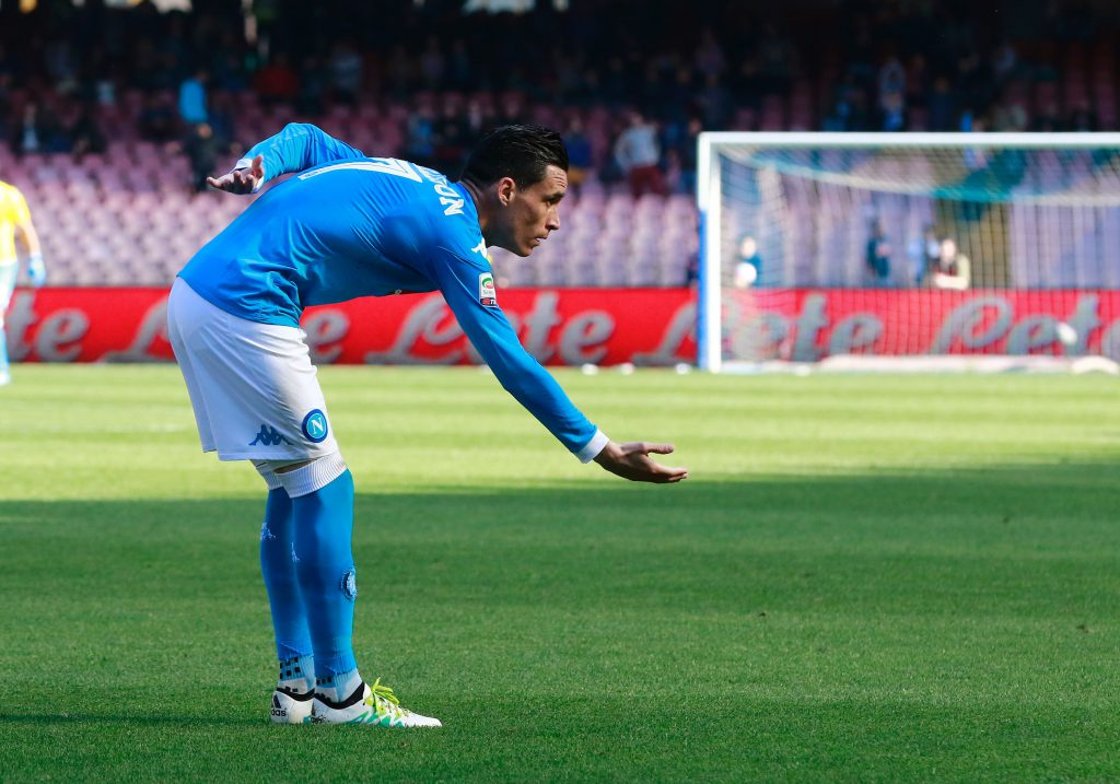 Napoli's Spanish forward Jose Maria Callejon celebrates after scoring during the Italian Serie A football match between SSC Napoli and Hellas Verona FC on April 10, 2016 at San Paolo stadium in Naples. / AFP / CARLO HERMANN (Photo credit should read CARLO HERMANN/AFP/Getty Images)