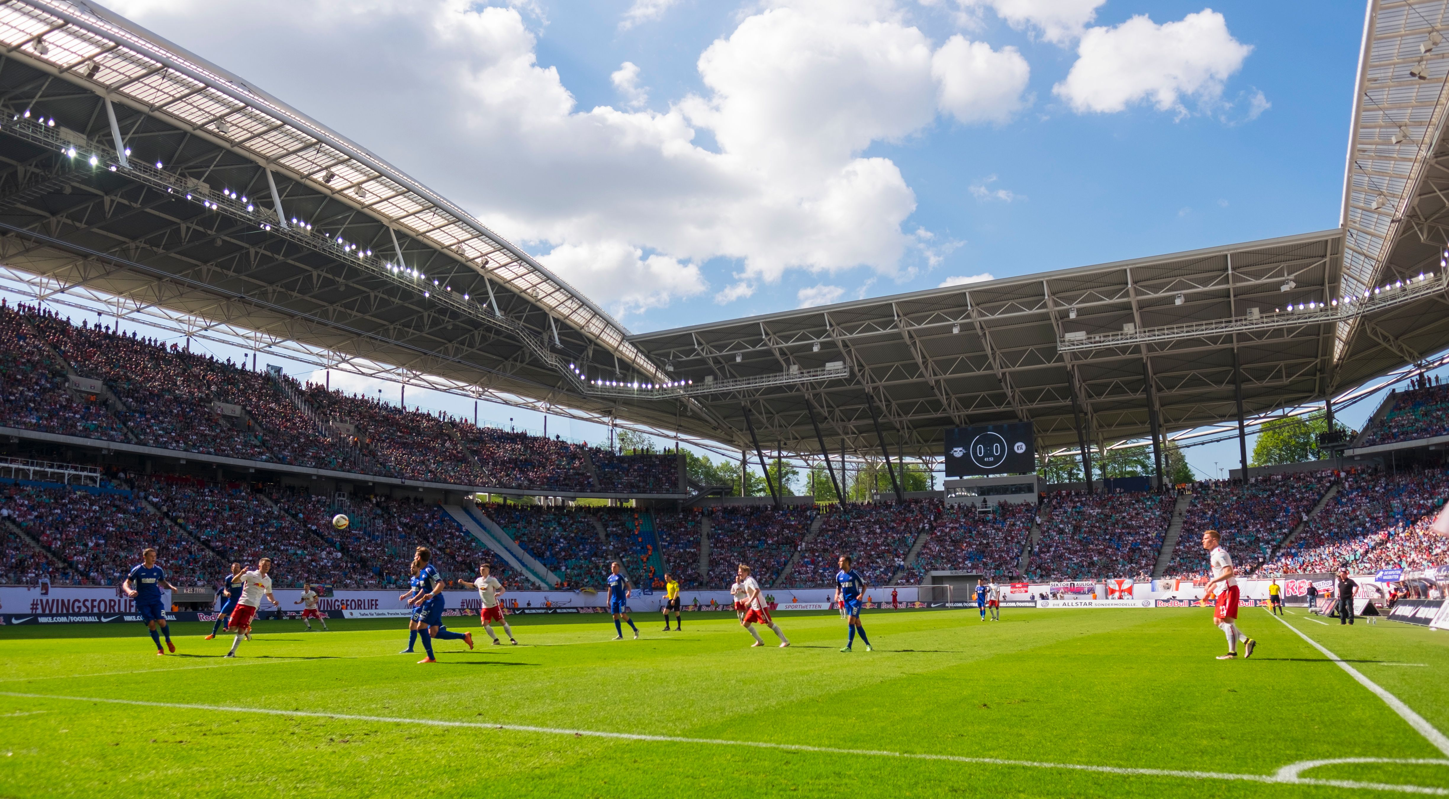 A general view of the Red Bull Arena football stadium during the German second division Bundesliga football match between RB Leipzig and Karlsruher SC in Leipzig, eastern Germany, on May 8, 2016. Leipzig won the match 2-0 and will be promoted to the first division Bundesliga next season. / AFP / Robert MICHAEL (Photo credit should read ROBERT MICHAEL/AFP/Getty Images)
