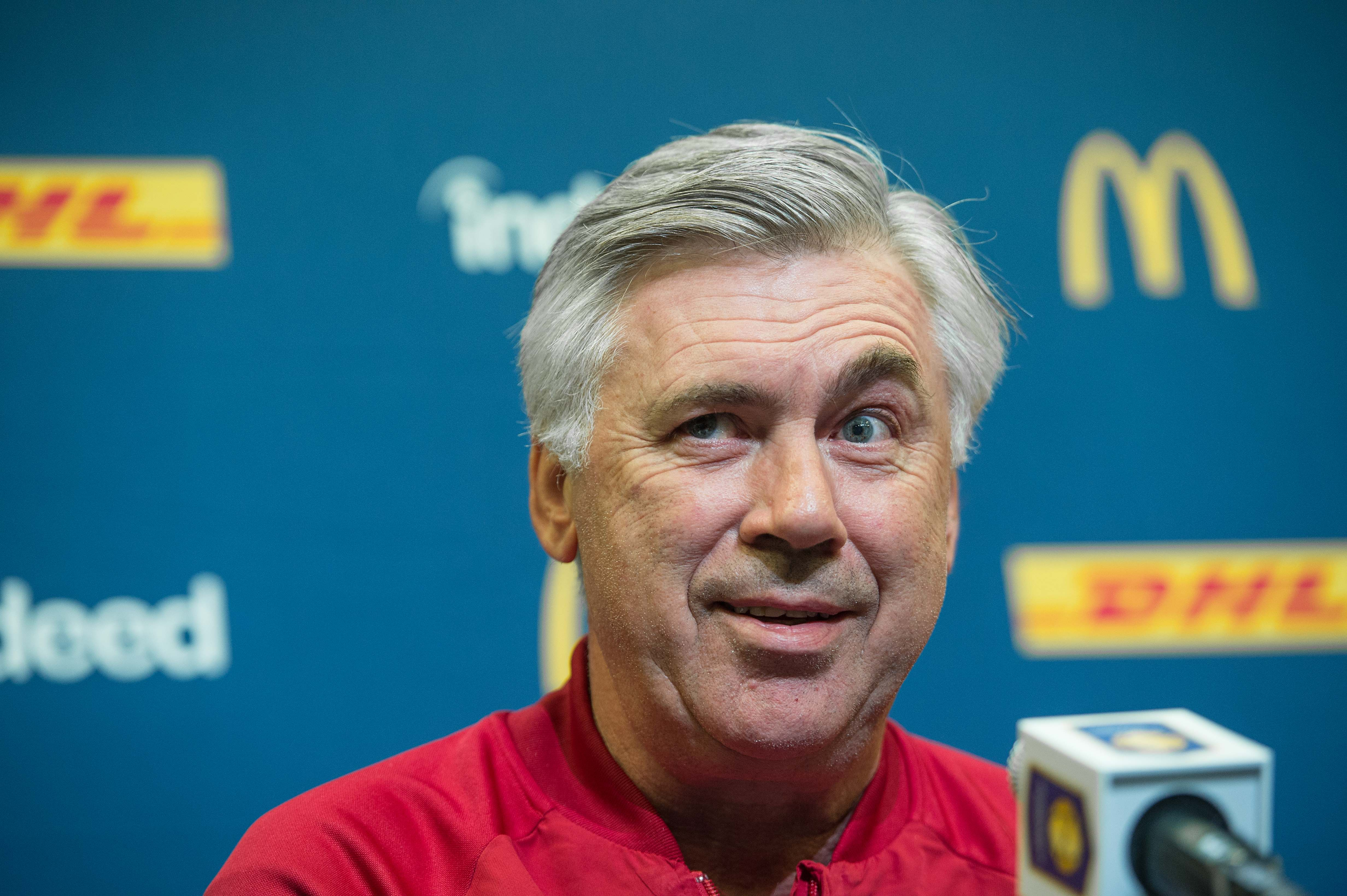 Bayern Munich's new coach Carlo Ancelotti holds a press conference in Charlotte, North Carolina, on July 29, 2016, on the eve of Bayern's International Champions Cup match against Inter Milan. / AFP / Nicholas Kamm (Photo credit should read NICHOLAS KAMM/AFP/Getty Images)
