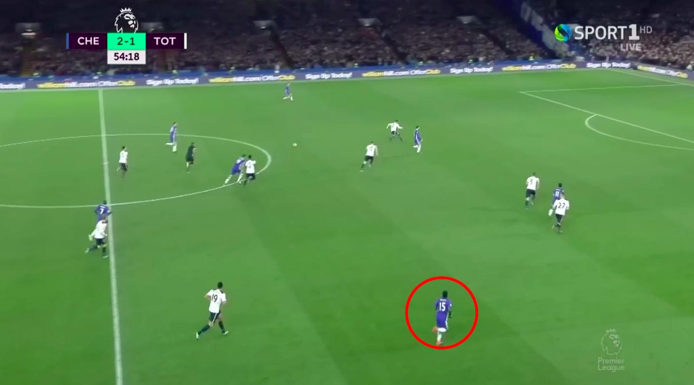L'ampiezza data dal nigeriano su una situazione di attacco del Chelsea. In questo istante Moses è libero da marcature