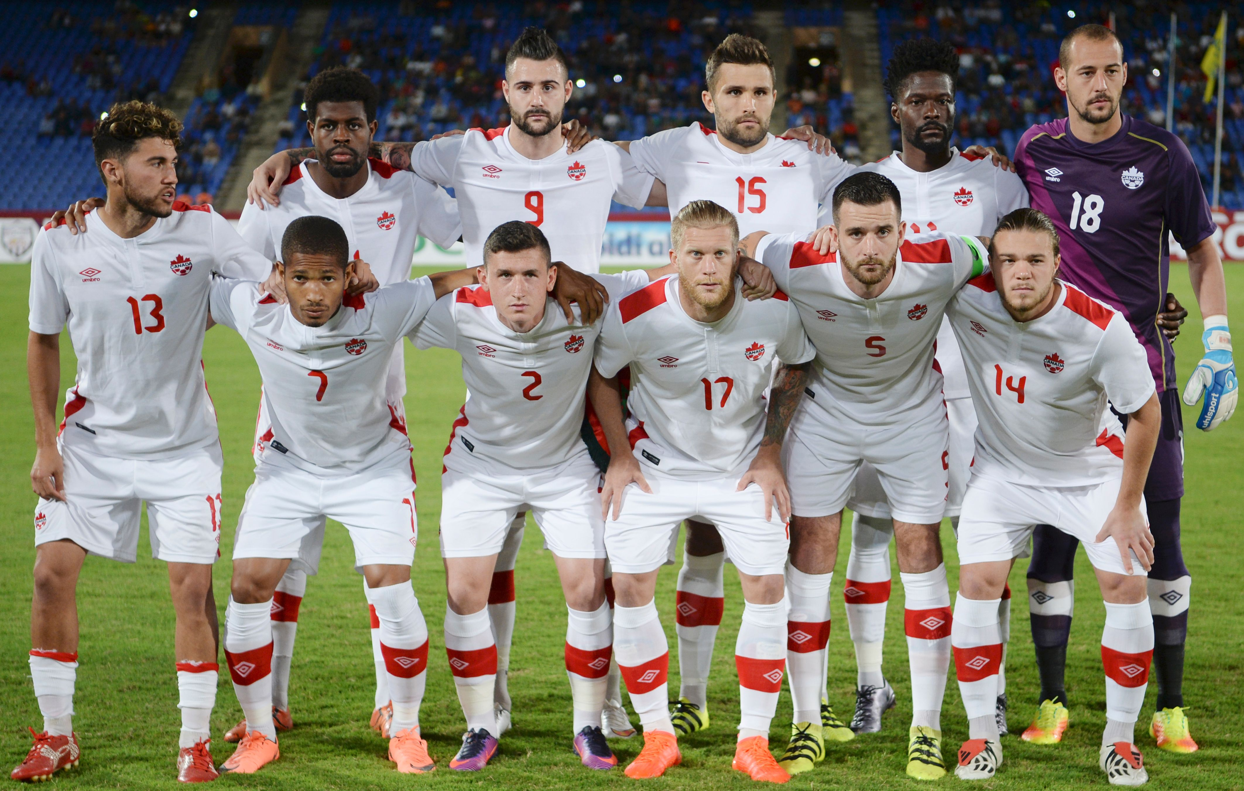 Canada's football national team players (front row from L) Jonathan Osorio, Simeon Jackson, Fraser Aird, Marcel De Jong, David Edgar, Samuel Piette (back row from L) Manjrekar James, Marcus Haber, Adam Straith, Tosaint Ricketts, Milan Borjan pose for a group photo prior to their friendly match against Morocco at the Marrakech Grand Stadium in Rabat on October 11, 2016. / AFP / FADEL SENNA        (Photo credit should read FADEL SENNA/AFP/Getty Images)