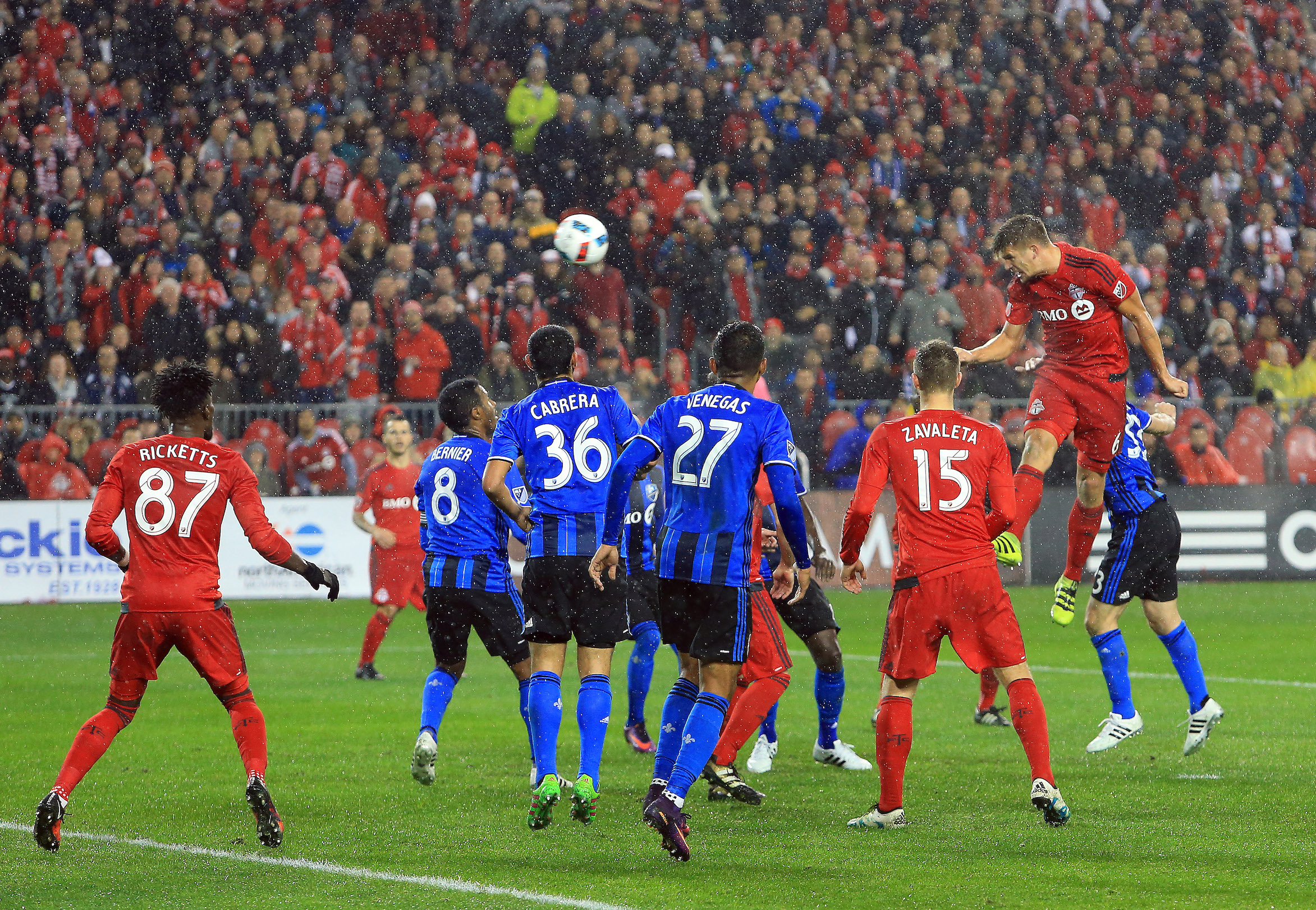 TORONTO, ON - NOVEMBER 30:  Nick Hagglund #6 of Toronto FC scores a goal during the second half of the MLS Eastern Conference Final, Leg 2 game against Montreal Impact at BMO Field on November 30, 2016 in Toronto, Ontario, Canada.  (Photo by Vaughn Ridley/Getty Images)