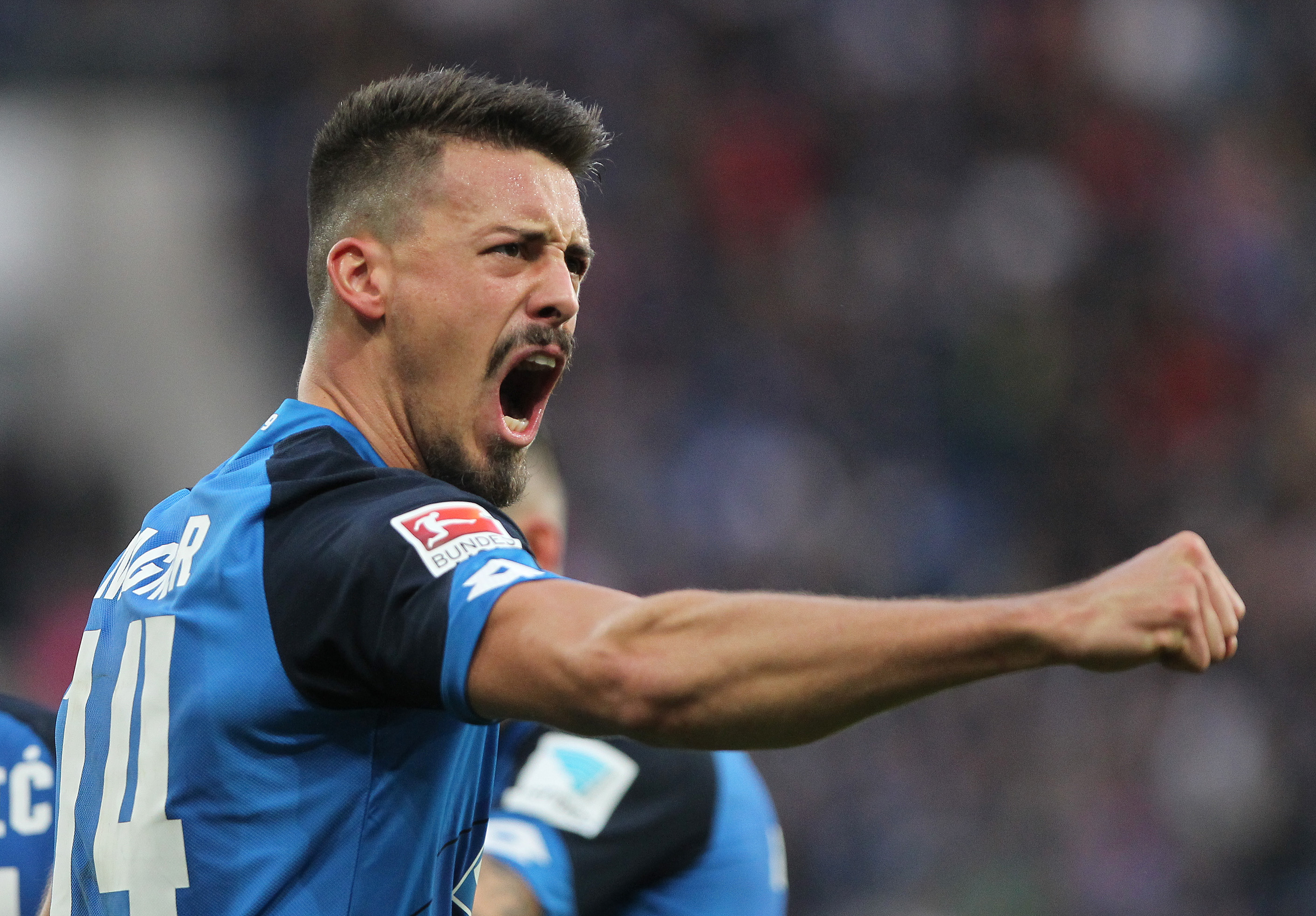 Hoffenheim's forward Sandro Wagner celebrates scoring the 1-1 goal during the German first division Bundesliga football match between TSG Hoffenheim and Hamburg SV in Sinsheim, southern Germany, on November 20, 2016. / AFP / DANIEL ROLAND / RESTRICTIONS: DURING MATCH TIME: DFL RULES TO LIMIT THE ONLINE USAGE TO 15 PICTURES PER MATCH AND FORBID IMAGE SEQUENCES TO SIMULATE VIDEO. == RESTRICTED TO EDITORIAL USE == FOR FURTHER QUERIES PLEASE CONTACT DFL DIRECTLY AT + 49 69 650050 (Photo credit should read DANIEL ROLAND/AFP/Getty Images)