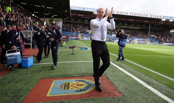 BURNLEY, ENGLAND - AUGUST 13: Manager of Burnley Sean Dyche waves to the fans before the Premier League match between Burnley and Swansea City at Turf Moor on August 13, 2016 in Burnley, England. (Photo by Lynne Cameron/Getty Images)