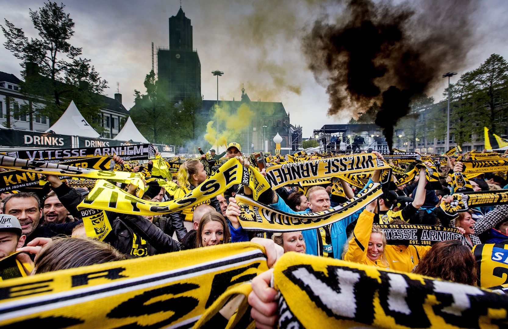 Netherland's Vitesse Arnhem supporters celebrate during the ceremony of Vitesse Arnhem's selection in front of City Hall of Arnhem on May 1, 2017, after winning the Dutch KNVB Cup football final. / AFP PHOTO / ANP / Koen van Weel / Netherlands OUT (Photo credit should read KOEN VAN WEEL/AFP/Getty Images)