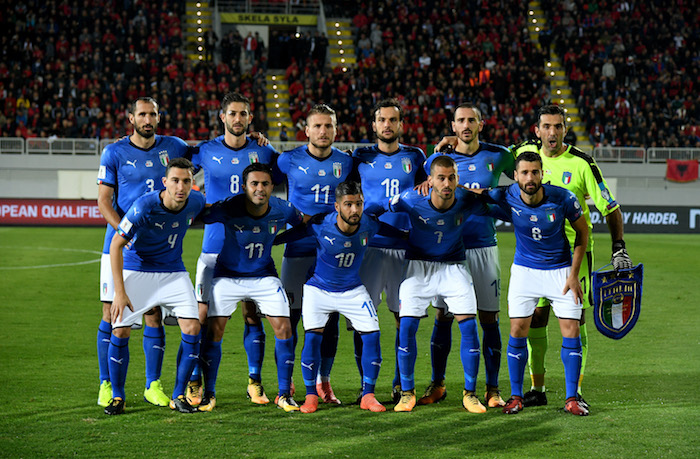 SHKODER, ALBANIA - OCTOBER 09:  Players of Italy line up prior to the FIFA 2018 World Cup Qualifier between Albania and Italy at Loro Borici Stadium on October 9, 2017 in Shkoder, Albania.  (Photo by Claudio Villa/Getty Images)