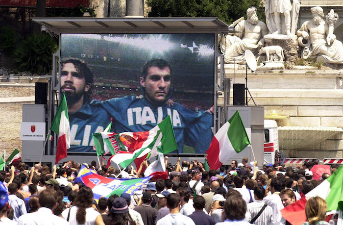 Soccer Fans in Italy Watch Worl Cup Match
