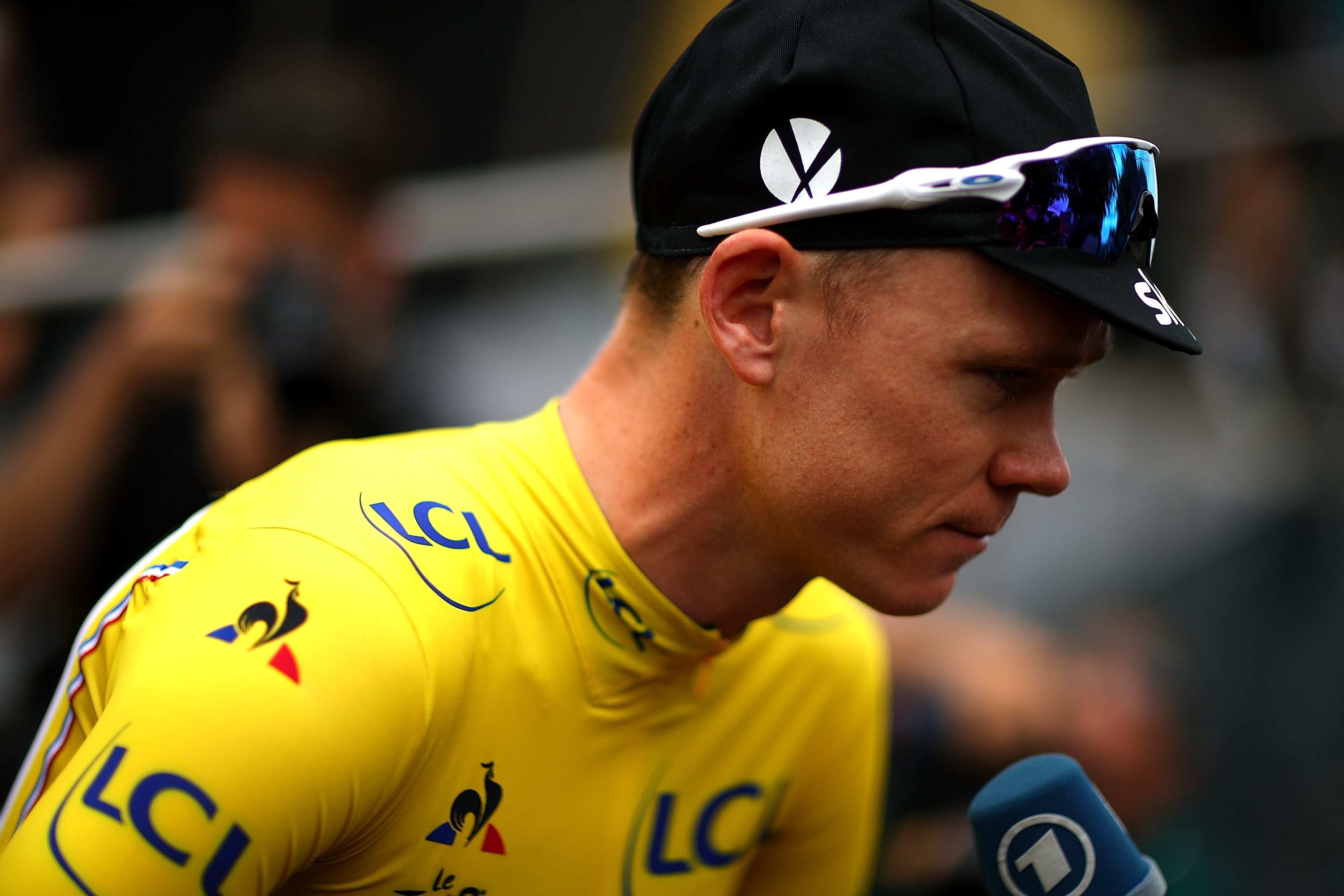 PARIS, FRANCE - JULY 23: Chris Froome of Great Britain and Team Sky speaks to the media ahead of stage twenty one of Le Tour de France 2017 on July 23, 2017 in Paris, France. (Photo by Chris Graythen/Getty Images)